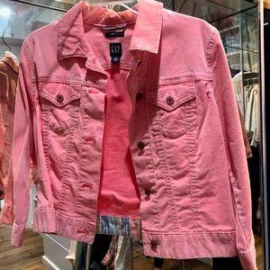 Pink Vintage Cordoroy Jean Jacket .  M.